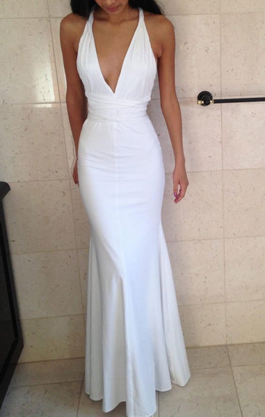 Sexy Evening Dress,White Deep V Neck Prom Dress,Mermaid Prom Dress, Evening Dress 1909