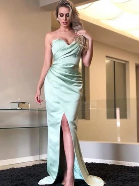 Sweetheart Strapless Mermaid Simple Cheap Prom Dresses 1916