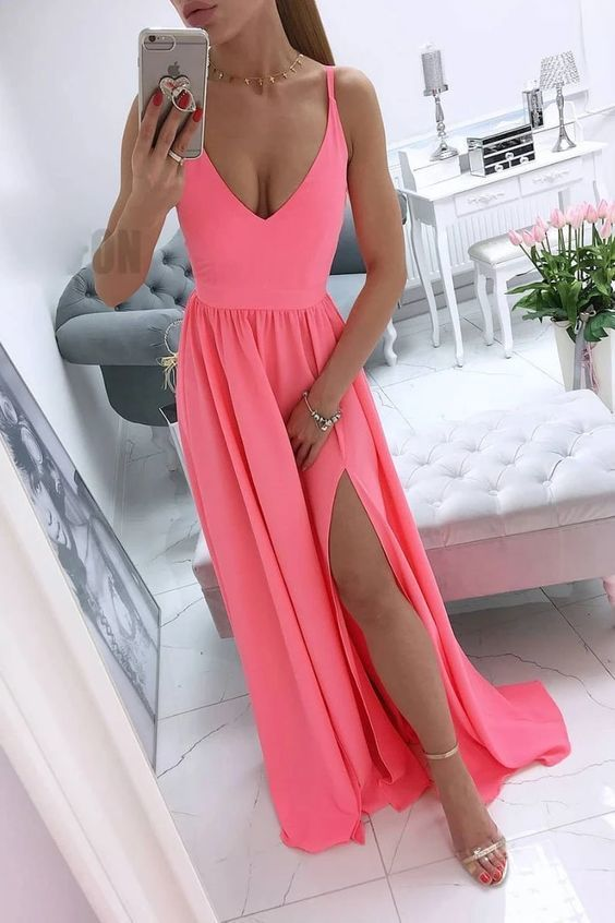 Simple v neck coral chiffon long prom dress 1923
