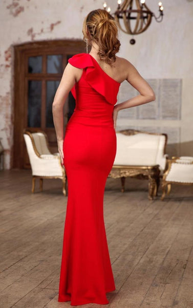 Red dress with one shoulder Occasion dress for woman long elegant dress 1931