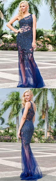 Mermaid One-Shoulder Sweep Train Hollow Navy Blue Tulle Prom Dress with Beading 1933