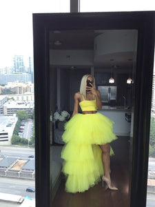 Yellow prom dresses tulle floor length yellow evening dresses 1941