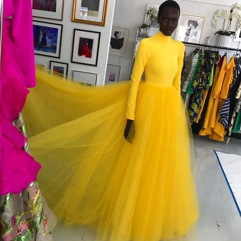 Yellow Tulle Long A Line Evening Dress, Long Prom Dress 1942