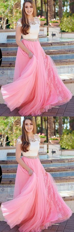 Beautiful Cute A-Line Two Piece Off the Shoulder White and Pink Tulle Long Prom Dress 1953