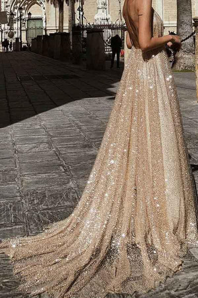 Sparkle Backless Plunging Neckline Sequin Long Prom Evening Dress 1965