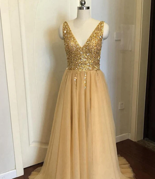 Modest Tulle Beaded V Neck Prom Dress A Line Floor Length Prom Evening Dress with Slit 1968