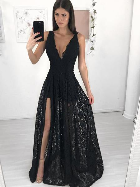 Black Lace Prom Dresses Graduation Party Dresses 1970