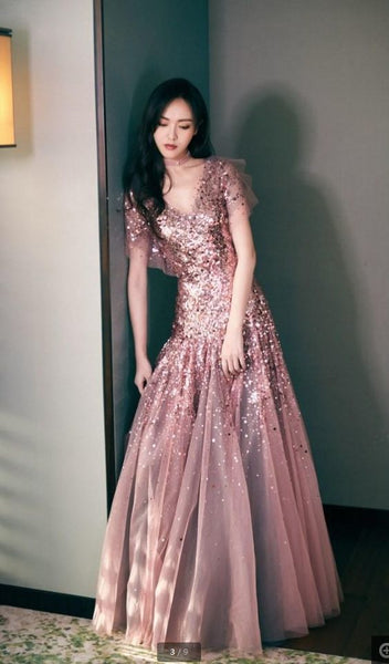 New Stars With Sequins Prom Dresses Bean Sand Color High-end V-Neck Long-Sleeved Party Evening Dresses 1978