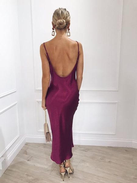 Open Back Tea length Prom Dress A-Line Prom Dress 1980
