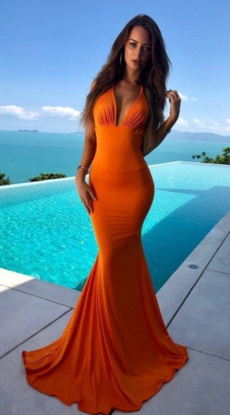 Orange V-Neck Mermaid Prom Dress ,2015