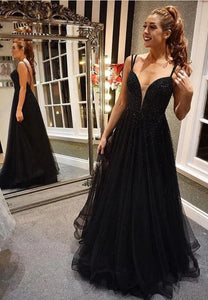 Black A-line Long Prom Dress with Beading,2025