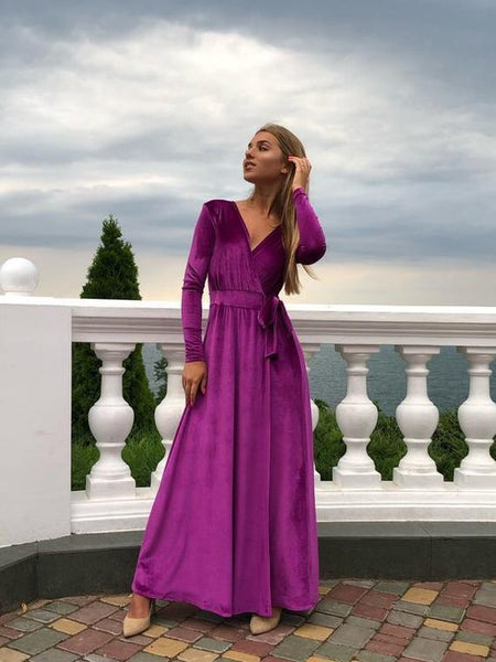 Velvet Wrap Dress, Long Sleeve Gown,2039