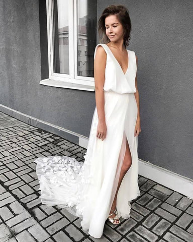 Elegant White Long Chiffon Beach Wedding Dress,Bride Dress,2045