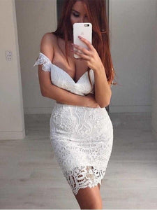 White Homecoming Dress, Lace White Prom Dress, Sexy Homecoming Dress,2047