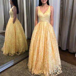 Elegant Yellow Long Prom Dress with Pockts ,2051