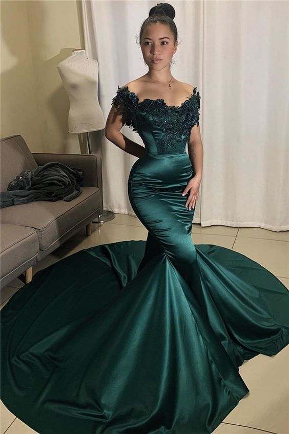 Glamorous Off-the-shoulder Appliques Mermaid Prom Dresses,2057