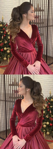 Velvet Evening Dresses,Velvet Ball Gowns,Burgundy Wedding Dresses,2059
