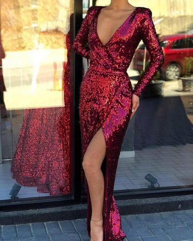 Burgundy Long Sleeves Sequin V-Neck Mermaid with Split Evening Dress,2060