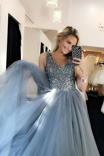 Sparkly Prom Dresses,V Neck Prom Gown,Grey Prom Dresses,2071