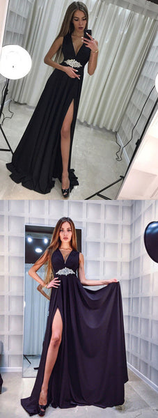 V-Neck Long Prom Dresses,Evening Dresses,2073