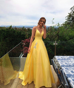 A-line Yellow Long Prom Dress with Pockets,2075