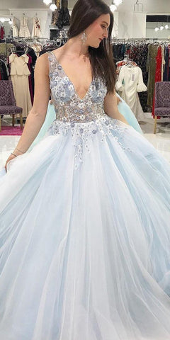 A-line V-neck Floral Appliques Tulle Graduation Gown Long Prom Dress,2076