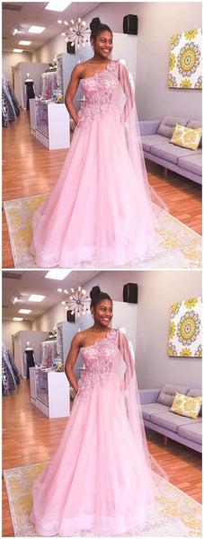 Prom Dresses Split, One Shoulder Pink Prom Dresses Appliqued Train Evening Gowns,2084