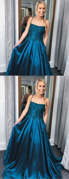 Cute Prom Dress, Teal Satin Lace Spaghetti Strap Open Back A-Line Prom Dresses,2086