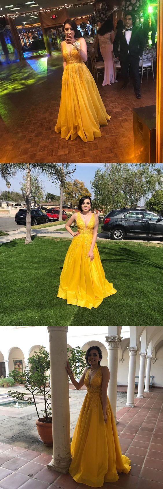 Princess Long Prom Dresses Yellow, Lace Prom Dresses for Teens,2087