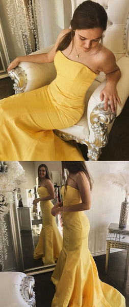Simple Charming Mermaid Yellow Strapless Long Prom Dress, Elegant Long Evening Dress,2088