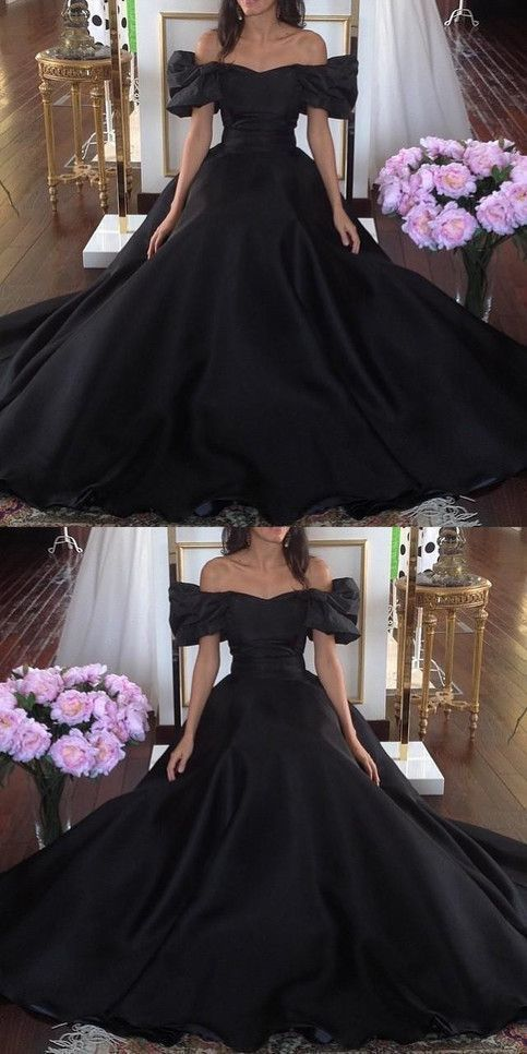 Black formal party dress, off shoulder prom dress, long evening dress,2089