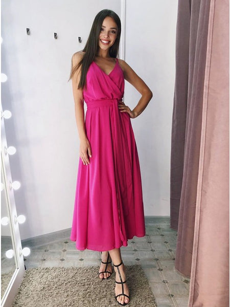 A-line V-neck Fuchsia Ruched Tea-Length Prom Formal Dress,2102