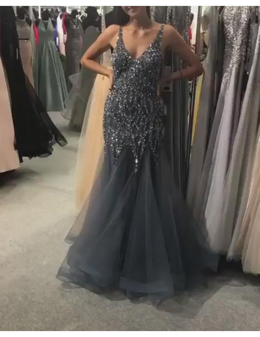Gray Prom Dress,Tulle Prom Dress,V-Neck Prom Dresses,Beading Prom Dress,2119