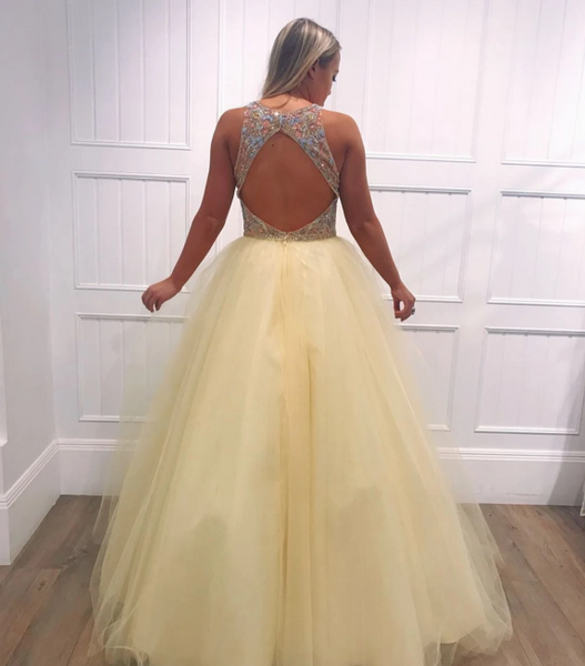 A-Line Light Yellow Tulle Beaded V-Neck Long Prom Dress,2136