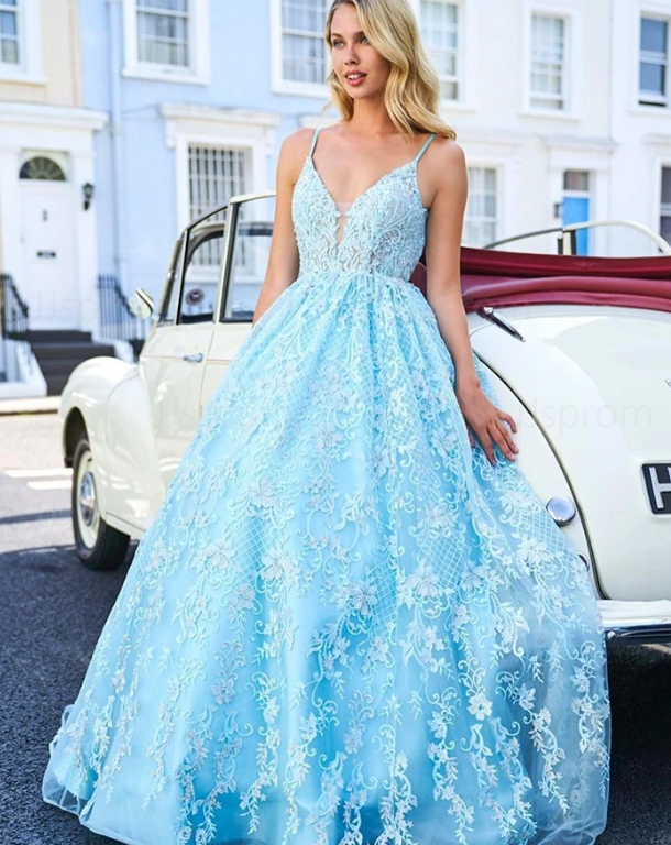 Chic A-line Spaghetti Straps Lace Long Prom Dress Blue Evening Dress ,2148