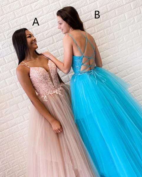 Chic A-line Spaghetti Straps Lace Long Prom Dresses Tulle Evening Dress ,2156