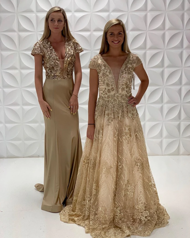 Sheath/Column V neck Gold Long Prom Dresses Simple Evening Dress,2168