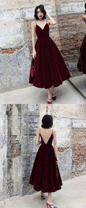 Tight Prom Dresses, Simple burgundy tea Length prom dress, burgundy bridesmaid dress ,2181