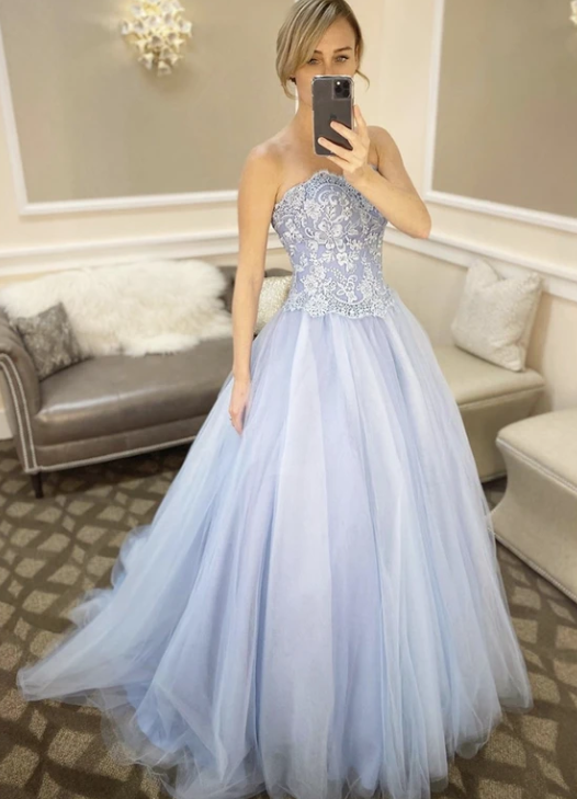 Blue tulle lace long prom dress evening dress,2195