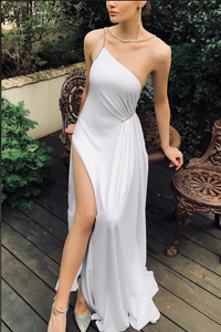 Simple White Rhinestone Slit One Shoulder Prom Dress, 2205