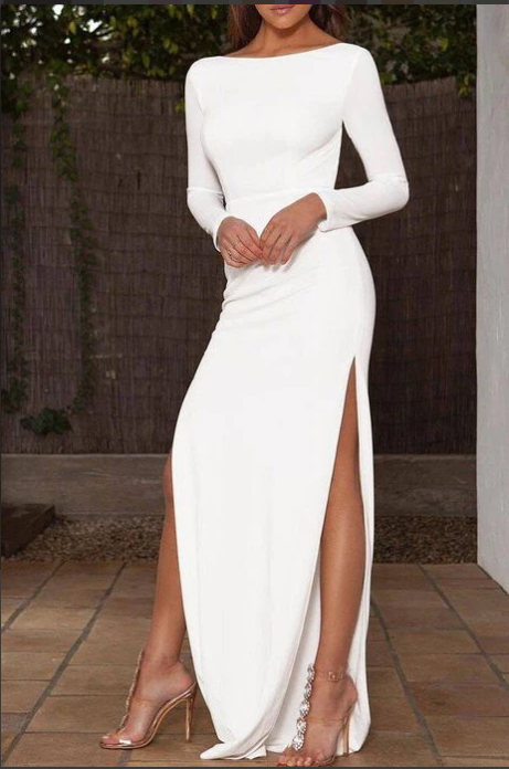 Sexy White Thigh-high Slit Prom Dress With Sleeves,2207