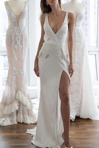 Sexy White Deep V-neck Open Back Applique Slit Wedding Dress,2212