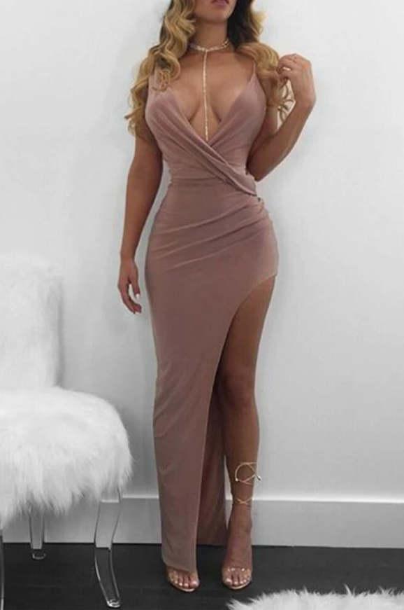 Sexy Deep V-neck Ruffled Slit Sleeveless Prom Dress,2214