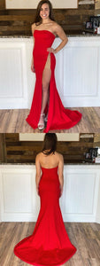 Red Mermaid Prom Dresses with Leg Slit, Red Mermaid Formal Evening Graduation Dresses 2225