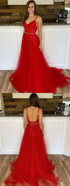 V Neck Red Mermaid Lace Prom Dresses, Red Mermaid Lace Formal Evening Dresses 2226