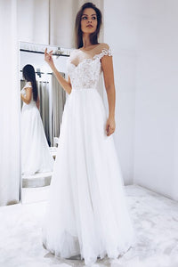 White Tulle Wedding Dresses with Lace ,2227