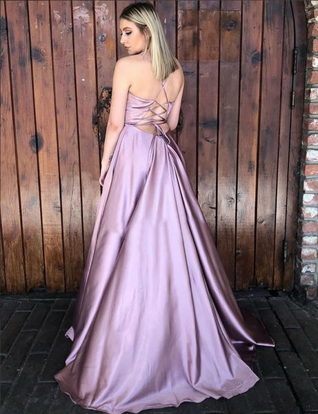 Perfect A-Line Spaghetti Straps Lilac Sleeveless Long Prom Dress with Split 2238