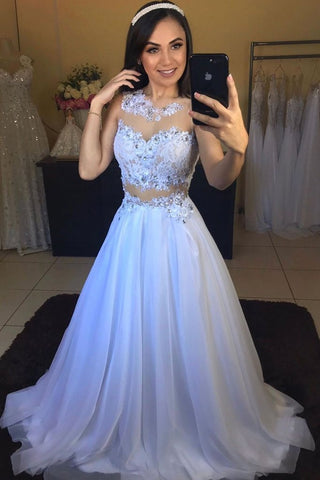 WHITE ROUND NECK TULLE LACE LONG PROM DRESS WHITE FORMAL DRESS 2254