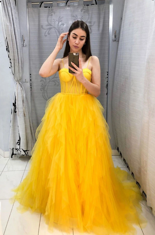 YELLOW SWEETHEART TULLE LONG PROM DRESS YELLOW FORMAL DRESS 2260