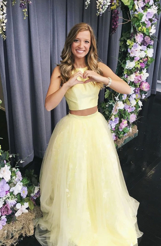 YELLOW TULLE TWO PIECES LONG PROM DRESS YELLOW FORMAL DRESS 2270